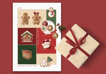 Greeting Card Layout with Christmas Illustrations