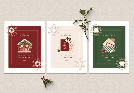 Greeting Card Layout Set with Christmas Illustrations