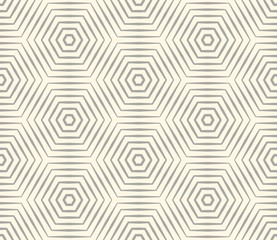 Halftone linear hexagon seamless pattern. Optical illusion geometric background. Vector illustration.