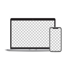 Laptop and smartphone mockup screen png isolated on background.