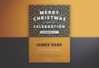 Merry Christmas Celebration Flyer Layout with Illustrative Elements