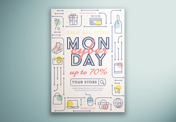 Cyber Monday Flyer Layout with Icons
