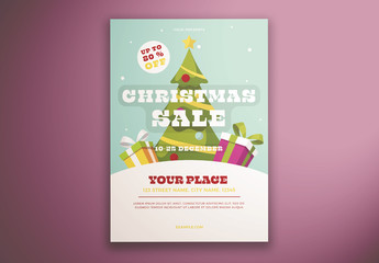 Christmas Tree Sale Flyer Layout with Tree and Presents