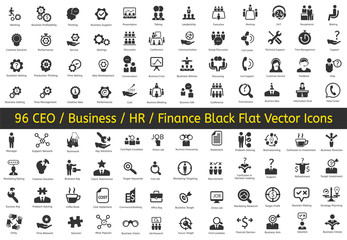 96 Ceo, HR, Business, Finance icons. Vector flat black icons.