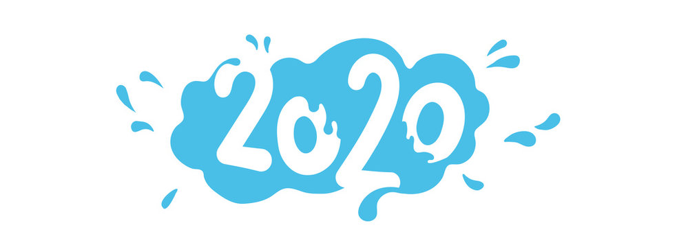 2020 written in cartoon water. Happy New Year 2020 Logo Text Design. Thai happy songkran for the new year. Vector Template Design Illustration for Cover of business diary or for calendar 2020