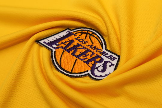 BANGKOK, THAILAND -JUNE 3: The  Logo of Basketball Team LA Lakers  on the textile