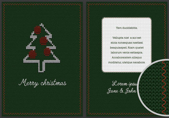 Christmas Flyer Layout with Textile Background Elements