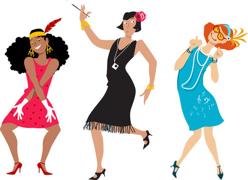 Three cartoon young women in flappers costumes, EPS 8 vector illustration