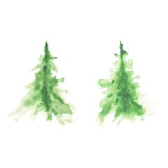 Watercolor green christmas tree - merry christmas tree - watercolor illustration