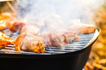 Barbecue chicken wings grilling fire,  wing.
