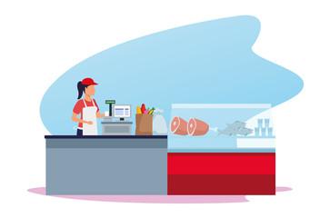 woman worker in supermarket cash register next to meat fridge