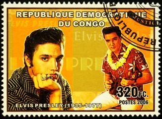 American singer Elvis Presley on postage stamp