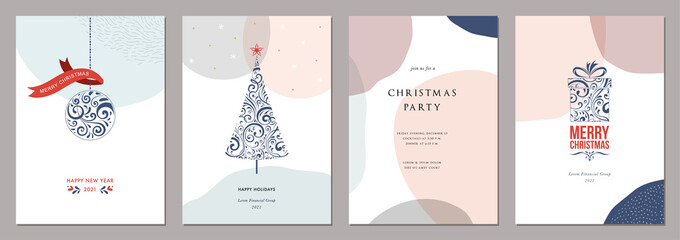 Wall Mural - Merry Christmas and Bright Corporate Holiday cards. Modern abstract creative universal artistic templates.