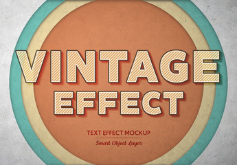 Vintage Hatching Text Effect Mockup