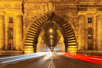 Entrance Buda Castle Tunnel Budapest, Hungary - Long exposure photo evening