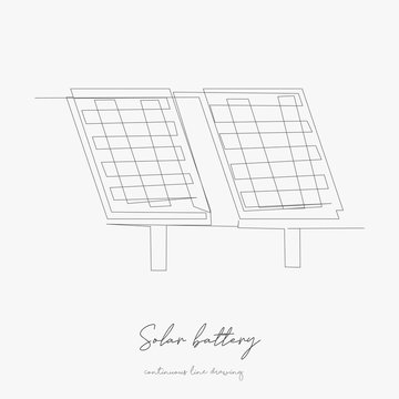 continuous line drawing. solar battery. simple vector illustration. solar battery concept hand drawing sketch line.