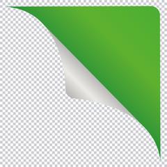green corner banner design element isolated on transparent background