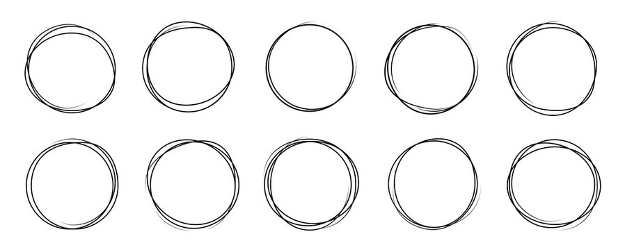 Hand drawning circle line sketch set. Art design round circular scribble doodle - stock vector.