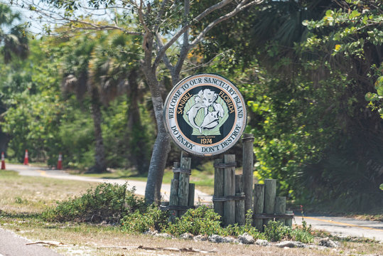 Sanibel Island, USA - April 29, 2018: Welcome sign in park by beach near Fort Myers, Florida, sanctuary incorporated on road