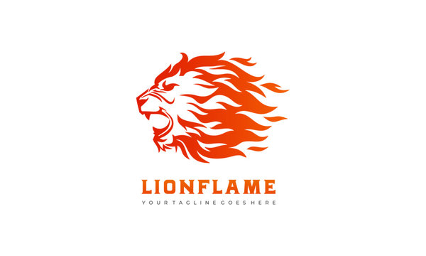Flame Lion vector - Lion Fire Logo