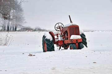 Tractor in Ice Fog and Snow