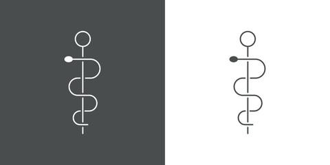 Símbolo lineal asistencia sanitaria con caduceo en fondo gris y fondo blanco