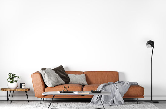 Mock Up Wall In Modern Interior Background, orange leather sofa in trendy living Room design, Scandinavian Style