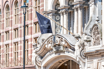 London, UK - June 22, 2018: The Royal Academy of Arts institution at Burlington House on Piccadilly Circus with Arcade banner entrance closeup with nobody architecture building exterior