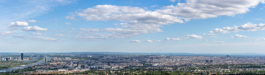 Garden Poster Vienna Panoramic aerial drone view of vienna city from Kahlenberg colline