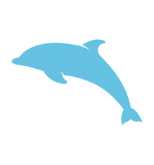 Blue dolphin icon flat vector icon isolated on white