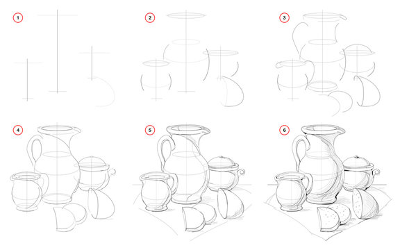 How to draw still life with Baltic ceramic dishes. Creation step by step pencil drawing. Educational page for artists. School textbook for developing artistic skills. Hand-drawn vector image.