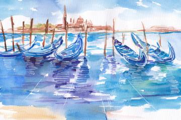 Obraz malowany recznie akwarelą przedstawiający przystań gondoli w Wenecji