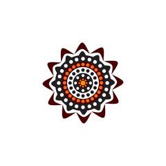 Aboriginal art dots painting icon logo design vector template
