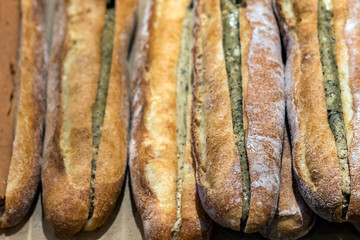 Japanese little baguettes filled with green tea cream.