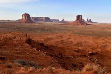 Aluminium Prints Magenta The Red rock desert landscape of Monument Valley, Navajo Tribal Park in the southwest USA in Arizona and Utah, America