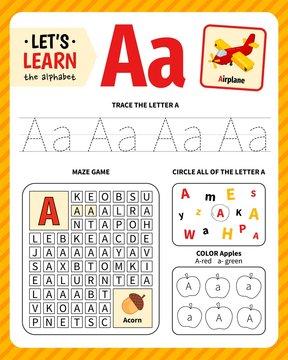 Kids learning material. Worksheet for learning alphabet. Letter A.