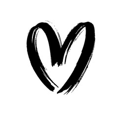 Black heart icon object. Hand drawn vector love symbol icon. Rough brush and marker heart.