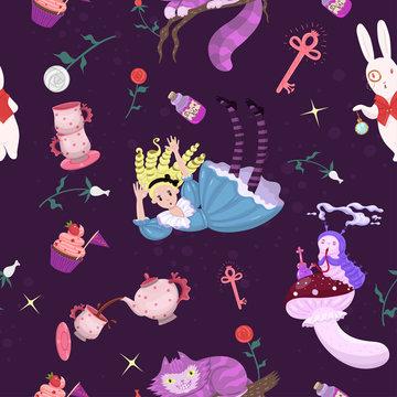 Alice in wonderland seamless pattern. Vector graphics.