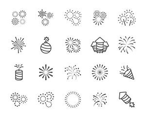 set of firework icons, celebration, festival, chinese firework, Happy New Year