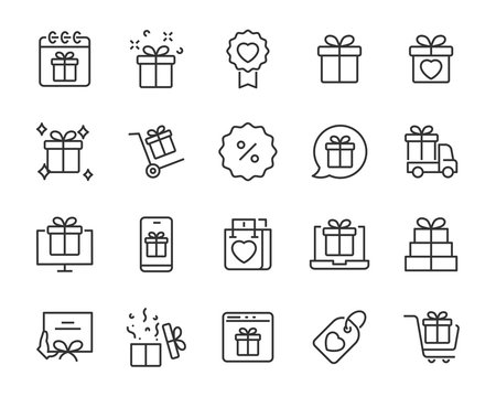 set of gift icons, gift box, special gift, present