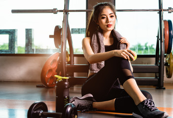 Lifestyle woman healthy after training exercise workout