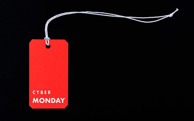 Internet online shopping, Promotion Cyber Monday Sale text on red tag
