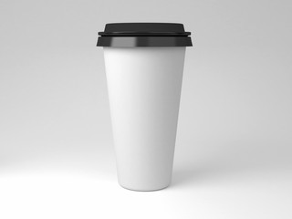 Serial image paper coffee cups for presentation logo or illustration, front, single