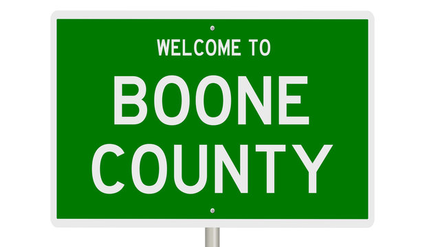 Rendering of a green 3d highway sign for Boone County