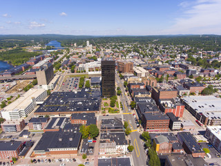 Manchester Brady Sullivan Plaza in downtown and Elm Street with Merrimack River at the background aerial view, Manchester, New Hampshire, NH, USA.