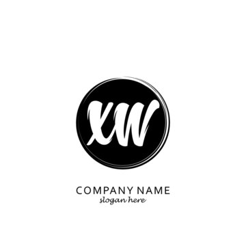 Initial letter XW with black circle brush logo template