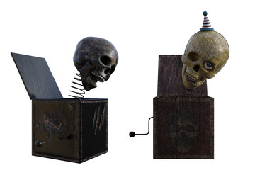 Pair of spooky skull jack in the box toys isolated on white, 3d render.