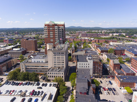 Manchester City Hall Plaza in downtown and Elm Street aerial view, Manchester, New Hampshire, NH, USA.