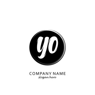 Initial letter YO with black circle brush logo template