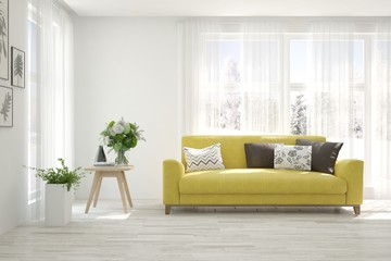 Stylish room in white color with yellow sofa. Scandinavian interior design. 3D illustration